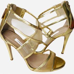 Diane von Furstenberg Gold Mesh Leather Sandals